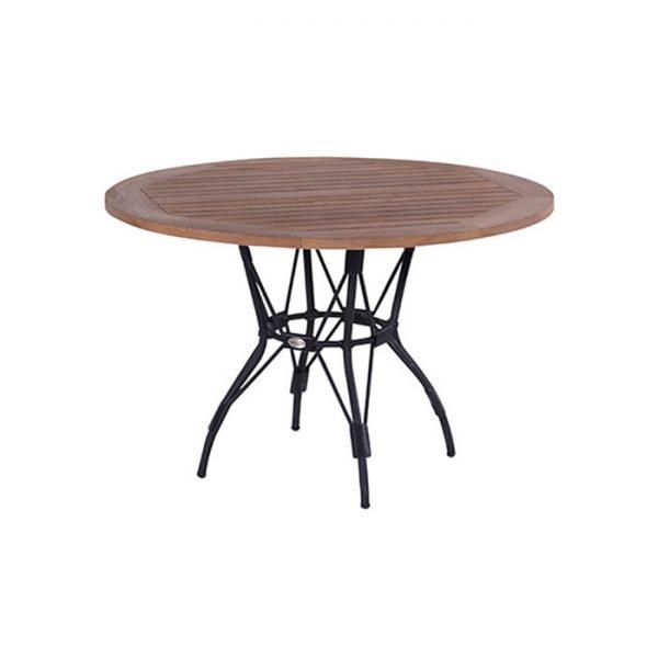 BATAVIA TABLE R.120CM TEAK TOP WITH BLACK FRAME