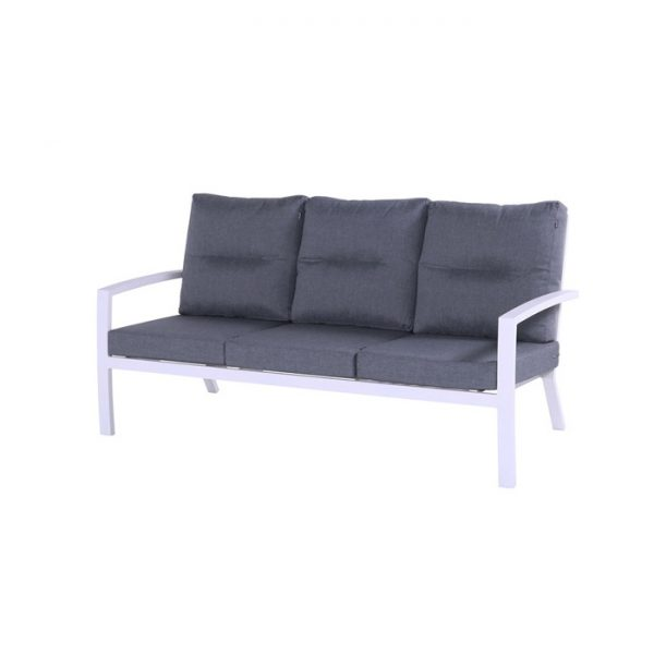 CANBERRA 3 SEATER SOFA WHITE ALU