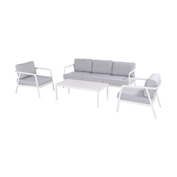 CHARLEROI LOUNGE SET WHITE ALU