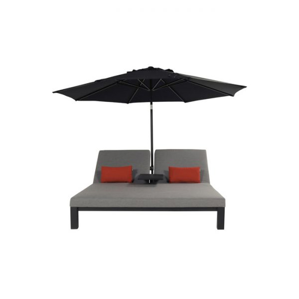 EVA DOUBLE LOUNGER MID GREY WITH SOLAR