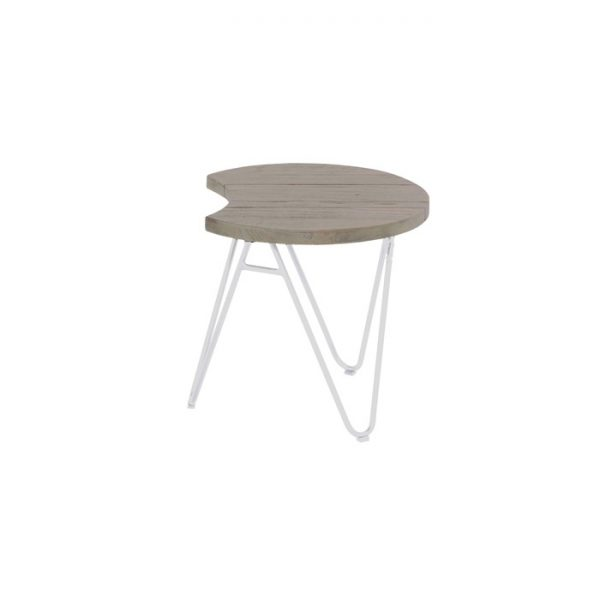 sophie half moon table 50cm light grey teak